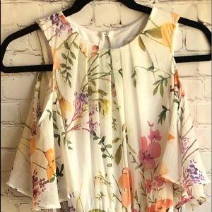 NWT Calvin Klein long floral, cold shoulder